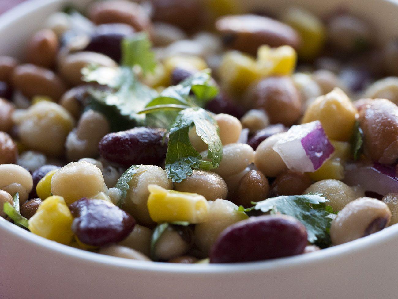 Easy 5 Bean Salad Recipe Bean Salad 5 Bean Salad Salad Side Dishes