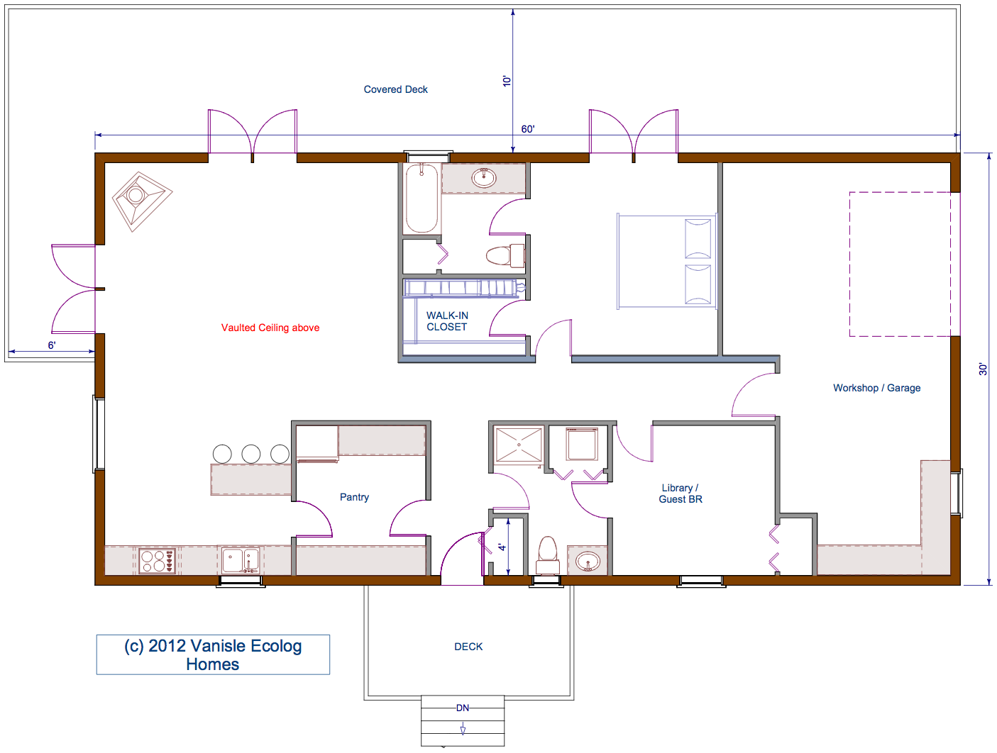 Small log house floor plans floor plan 30 39 x60 39 single for Single floor house plans