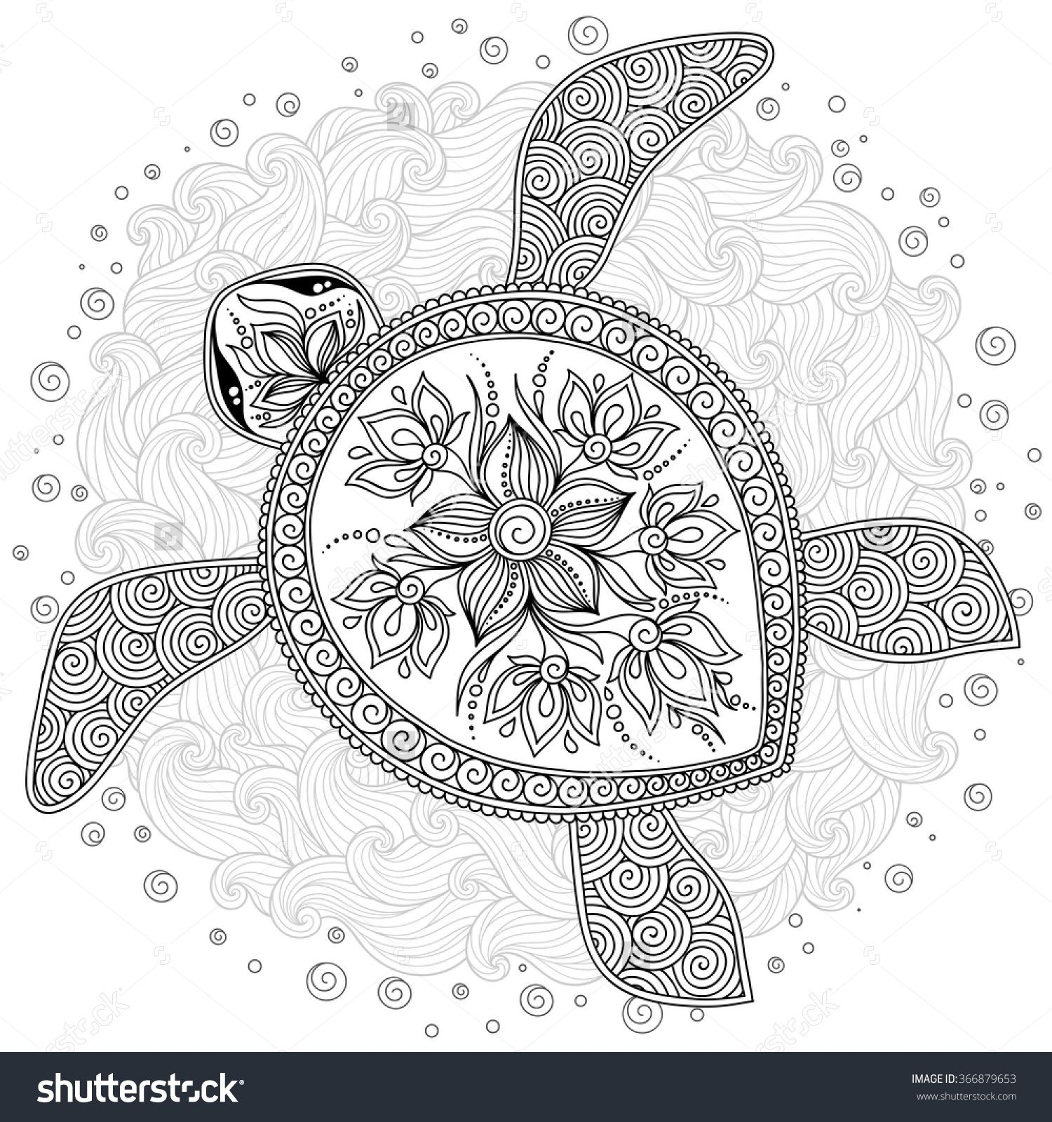 Coloring Pages Hand Drawn Sea Turtle Mascot For Adult Coloring