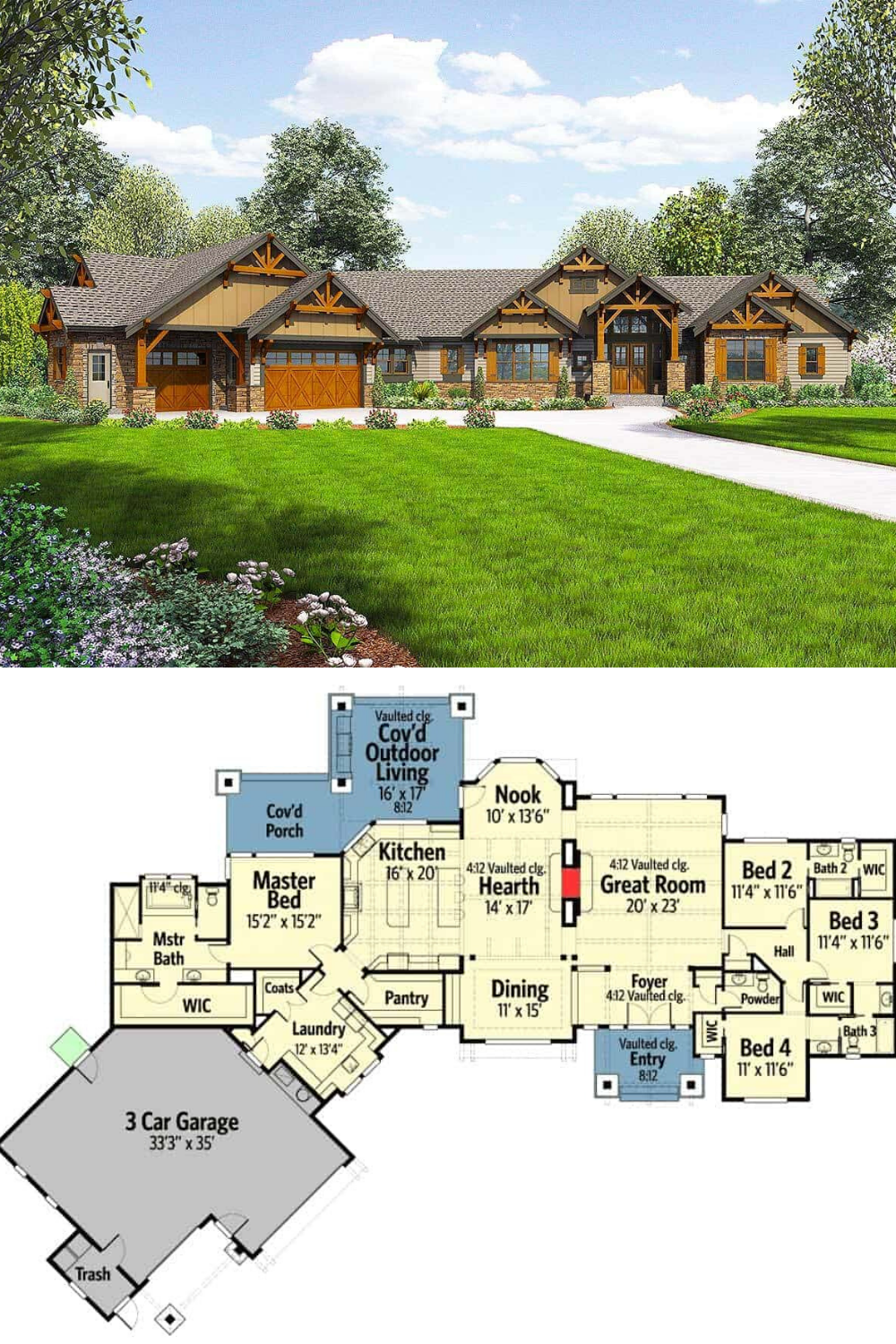 Spectacular 4 Bedroom Mountain Craftsman Single Story Home Floor Plan In 2020 Rustic House Plans Craftsman House Plans House Blueprints