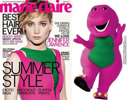 I love her; she loves me; I don't care if she's Barney.