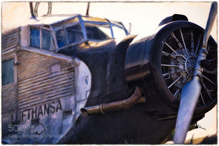 Ju 52 - ART by Photographic-AS with planetraveloldairportaircraftpaintflightcolorsairplanelufthansaaviationhistoricnostalgicancienneARTFlugzeugeJunkersJu52
