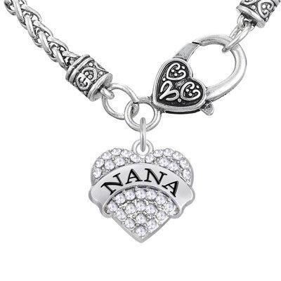 Vintage Grandmother Crystal Heart Pendant Nana Necklace: Great gift for Grandma!