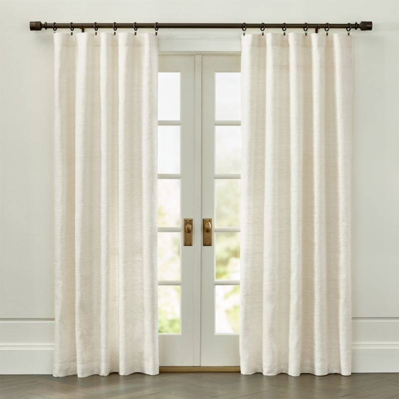 Silvana Ivory Silk Curtain Panel Crate And Barrel Sliding Door