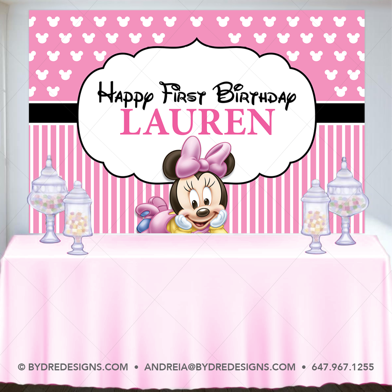 Baby Minnie Mouse Backdrop Minnie Mouse Banner Minnie Mouse