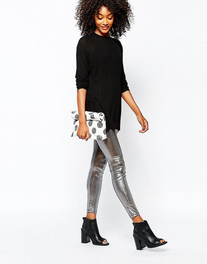 1b3eea7a7fd58a Monki Metallic Legging - Silver   Trousers & shorts in 2019   Silver ...