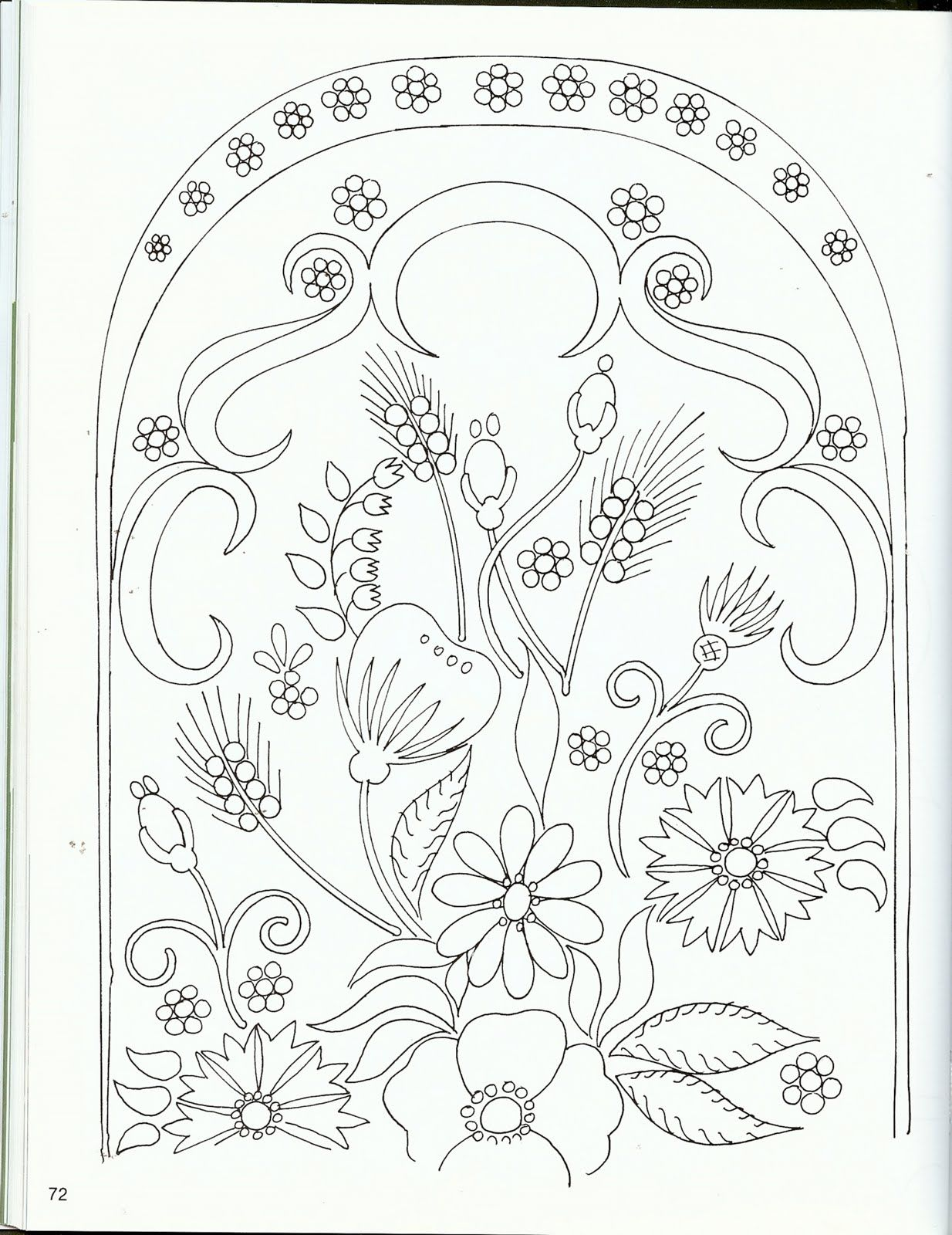 Line Art Embroidery : Flower arrangement line drawing templates and stencils