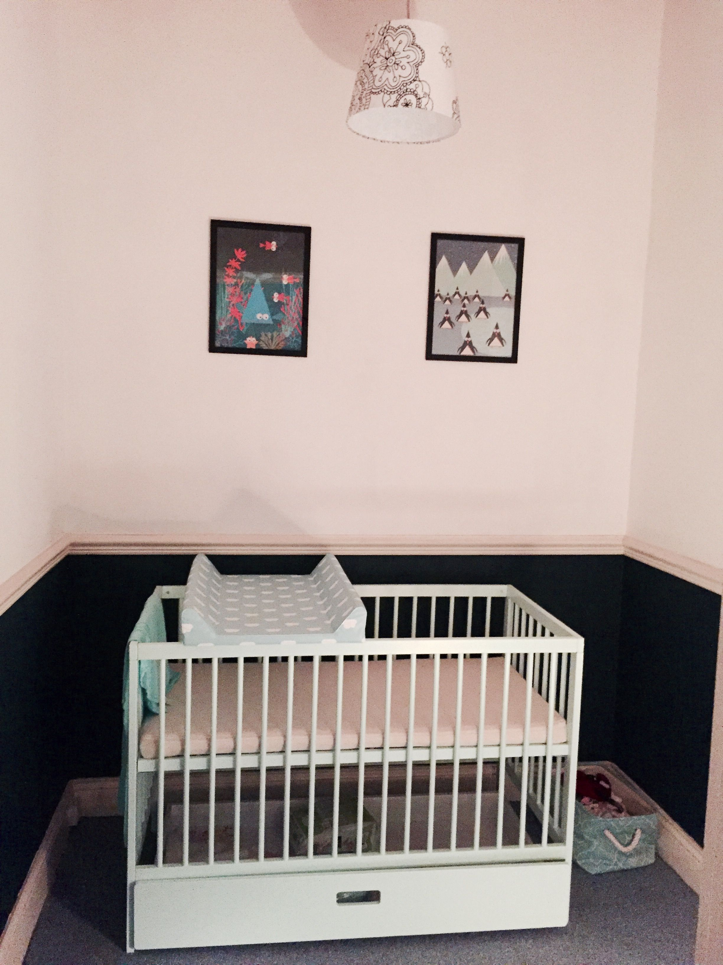 Baby nursery, box room makeover, no windows. Walls painted in