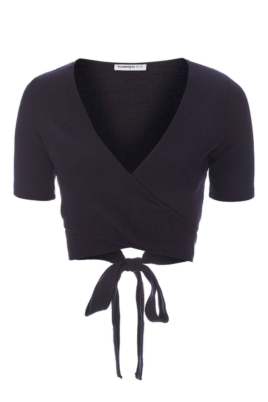 **Navy Wrap Top by Glamorous Petites - Tops - Clothing - Topshop Europe