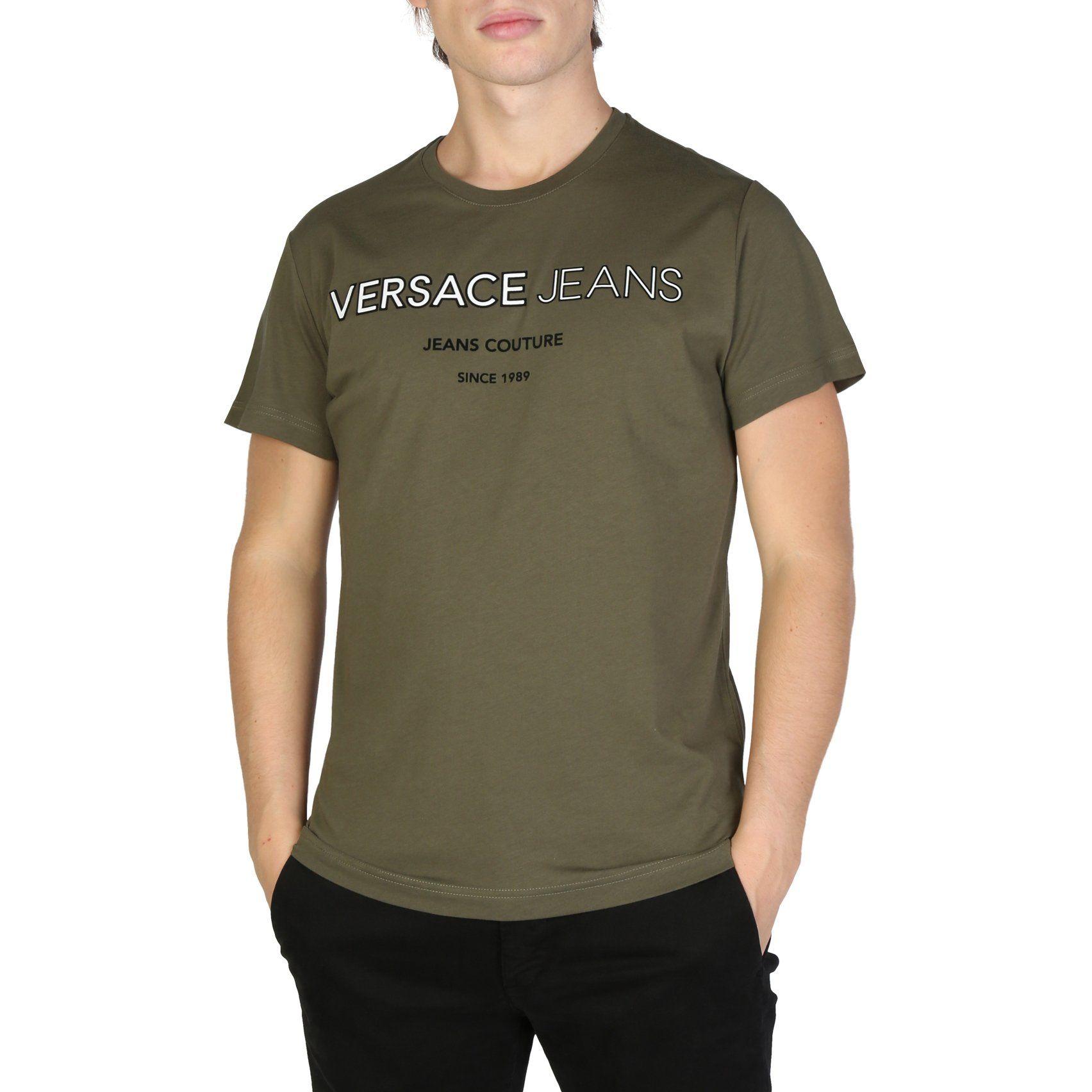 Versace Jeans Green Tee Black White Print B3gsb71c 36609 Free Ship Versace Jeans Versace Shirts Versace T Shirt