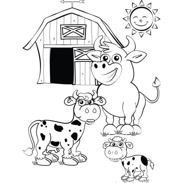 Disegno Di La Fattoria Con Le Mucche Da Colorare Animali