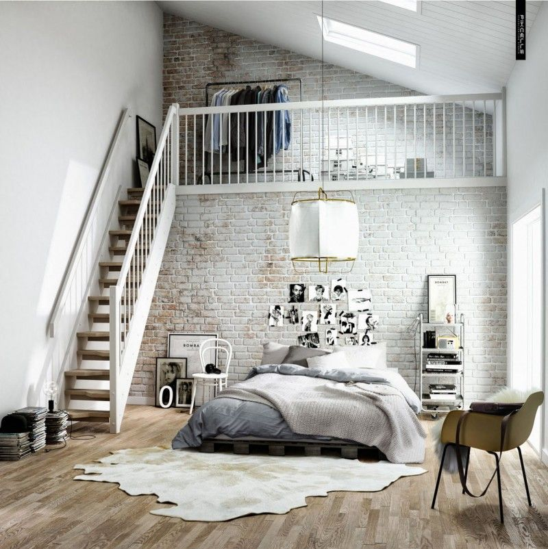 Chambre déco scandinave dans un loft | Lofts, Bedrooms and Mezzanine