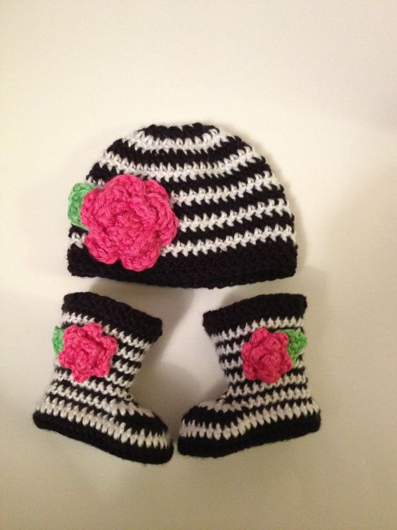 Crochet Baby Hat and Bootie Set, Zebra, 0-3 Months | 1 | Pinterest ...