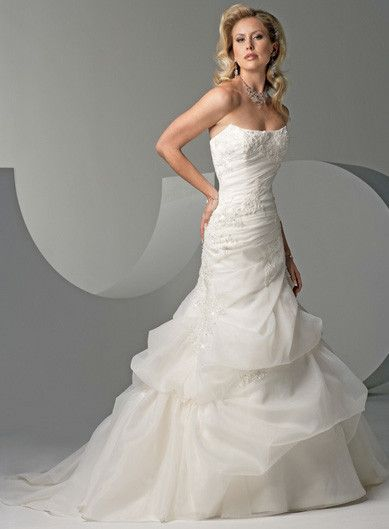 Scarlett Womens One Shoulder Beaded Mermaid Satin Wedding Bridal Dress