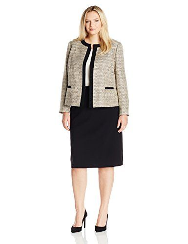 ed79a26bf Tahari by Arthur S Levine Womens Plus Size Boucle Skirt Suit SandWhiteBlack  24W * Want additional info? Click on the image.