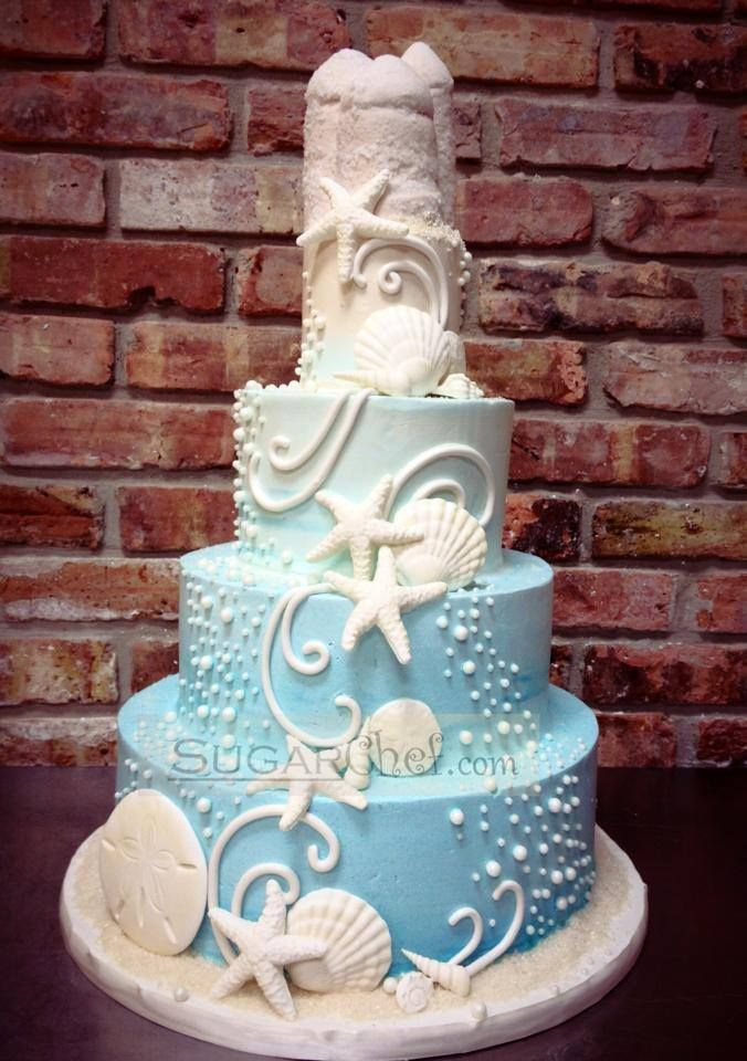 Beach Theme Cake Beach Wedding Pinterest Beach Theme Cakes