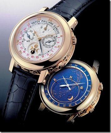 632b379ee88 Patek Philippe Sky Moon - A parte de trás deste relógio tem um mapa noturno  do céu no hemisfério norte e indica as fases da lua