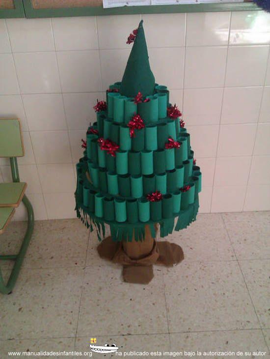 Abeto navide o con papel higi nico papel higi nico - Manualidades con rollos de papel higienico navidenos ...