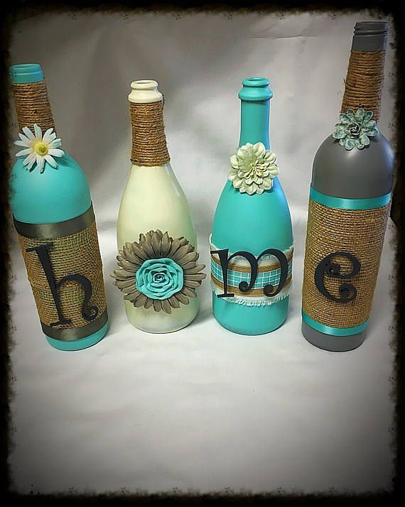 Rustichousewives Rustic Home Decor Four Wine Bottle Set Home Decor Rustic Home Decor Wine Bottle Wine Bottle Mason Jar Decorations Diy Home Decor Projects