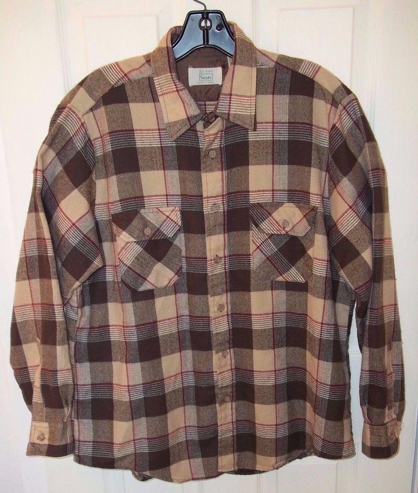 Flannel shirt with shorts men  Vtg SEARS Acrylic Plaid Flannel Shirt Mens SZ L     Brown
