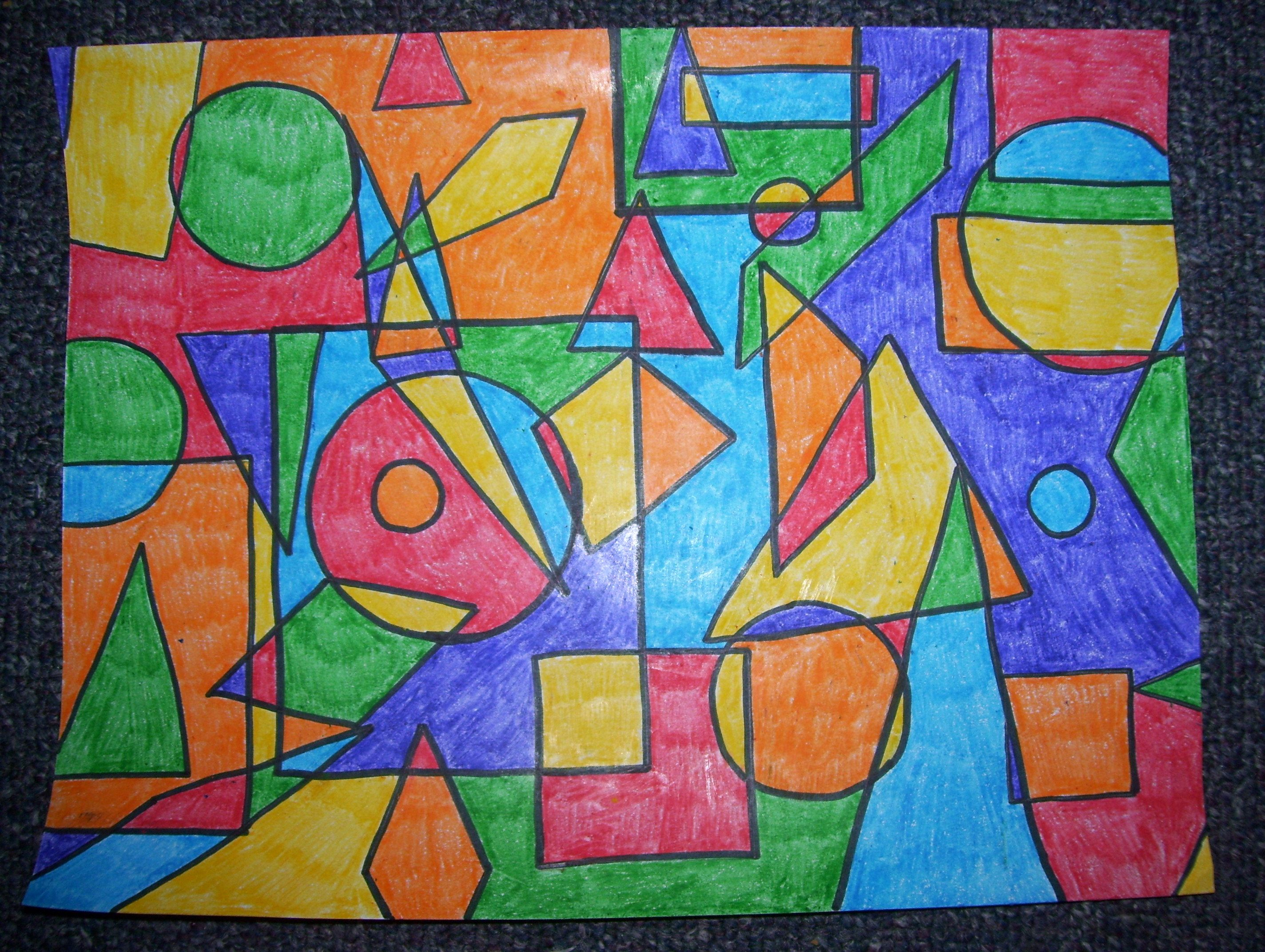 Art with shapes crafts pinterest school math and for Artists who use shapes in their paintings