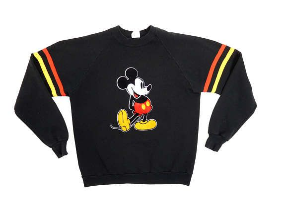 Vtg Mickey Mouse Striped Ringer Sweat Top Black Long Sleeve Pullover Vintage 80s 90s Disney Sweatshirt Felt Applique / Fit Mens M or Lady Lg