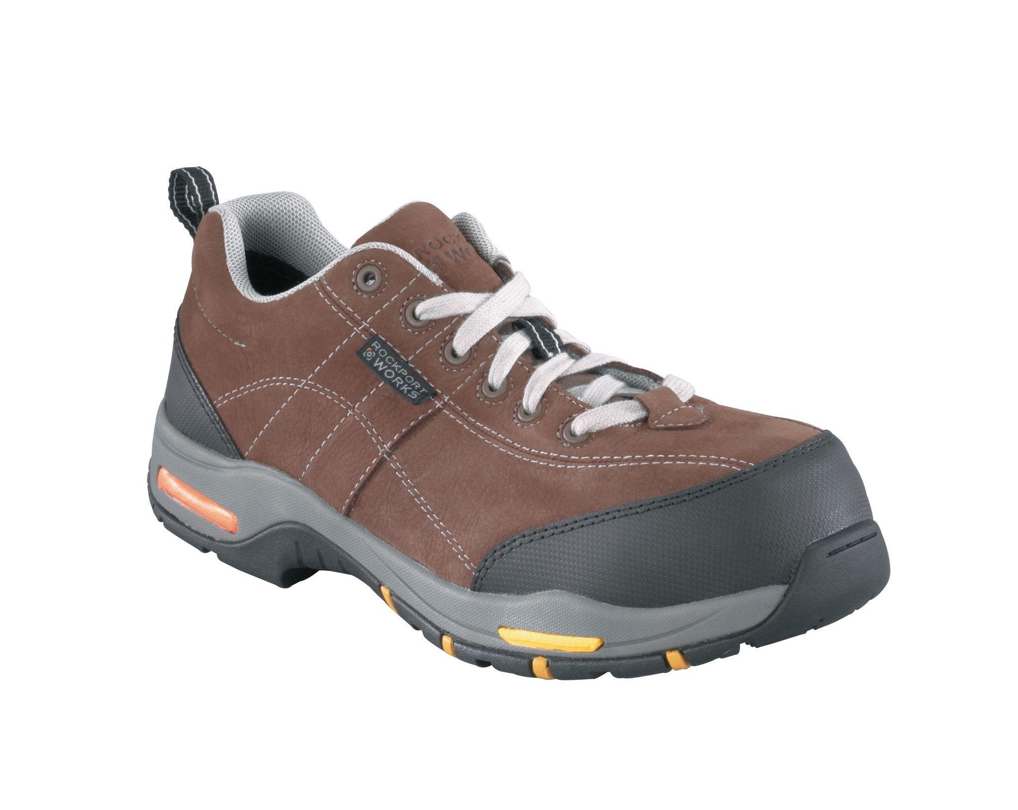 Rockport Mens Brown Black Leather Sport Oxford Propel Composite Toe