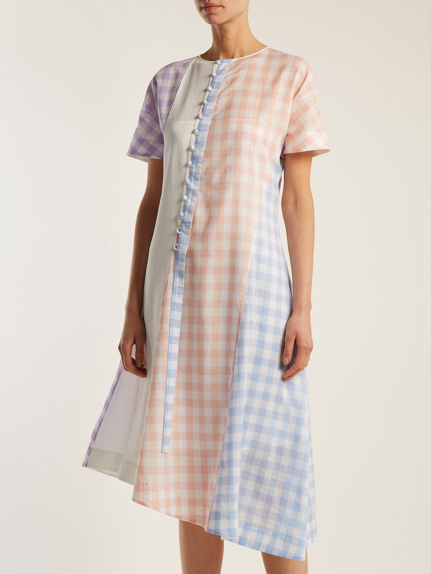 Gingham cotton-blend dress Loewe S8IvyNDftH