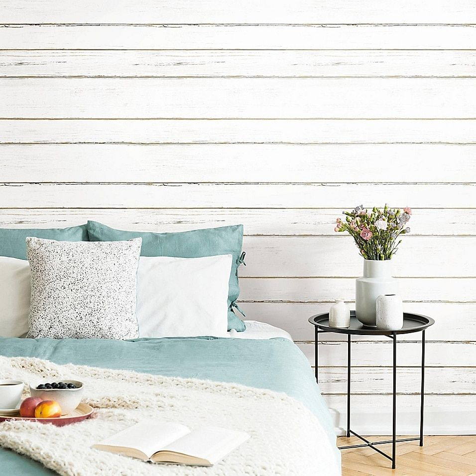Roommates Peel Stick Shiplap Wallpaper In White Bed Bath Beyond White Shiplap Peel And Stick Shiplap Farmhouse Style Kitchen