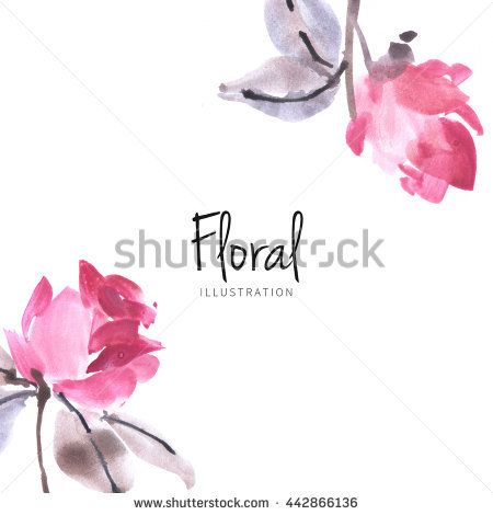 Watercolor Rose Flower Sketch On White Background Drawn Nature