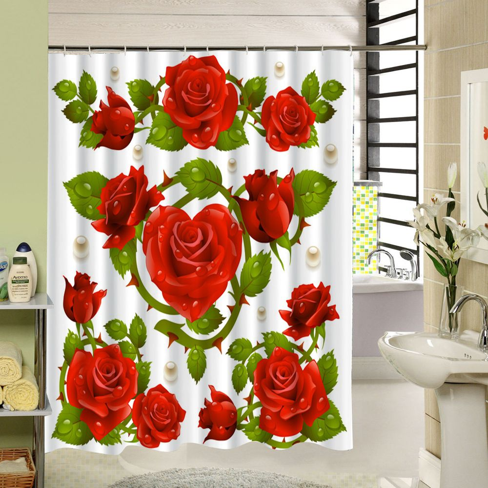 Sea Cloud Red Rose Flower Shower Curtain Polyester Fabric 3d Print