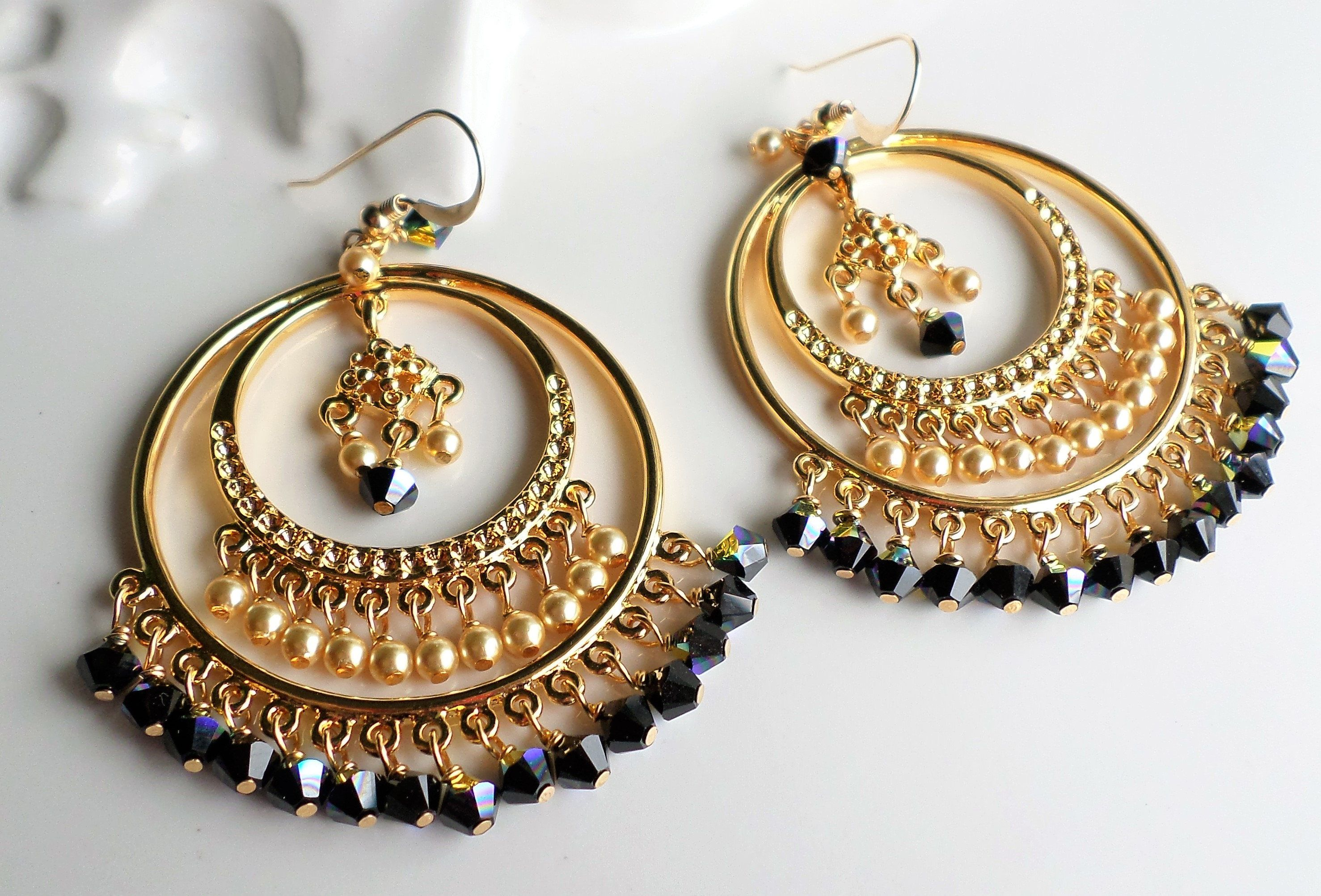9e3b89b6c39a9 Gold Chandelier Earrings, Gold Hoop Black Chandelier Earrings ...
