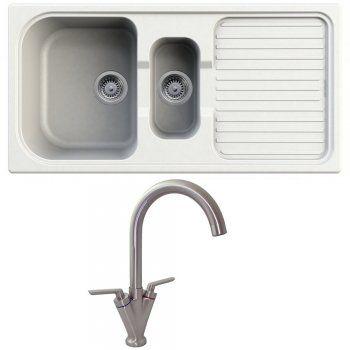 Astracast MSK 1.5 Bowl ROK Granite White Kitchen Sink & Saturn B6008 ...