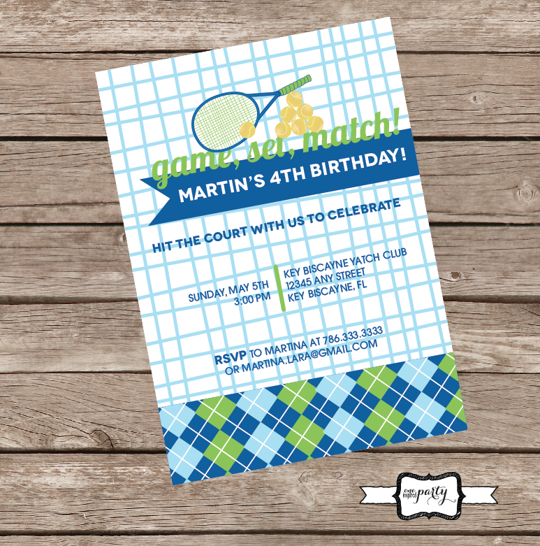 Tennis Party Invitation - Invite! | Fiesta tenis / ping pong ...