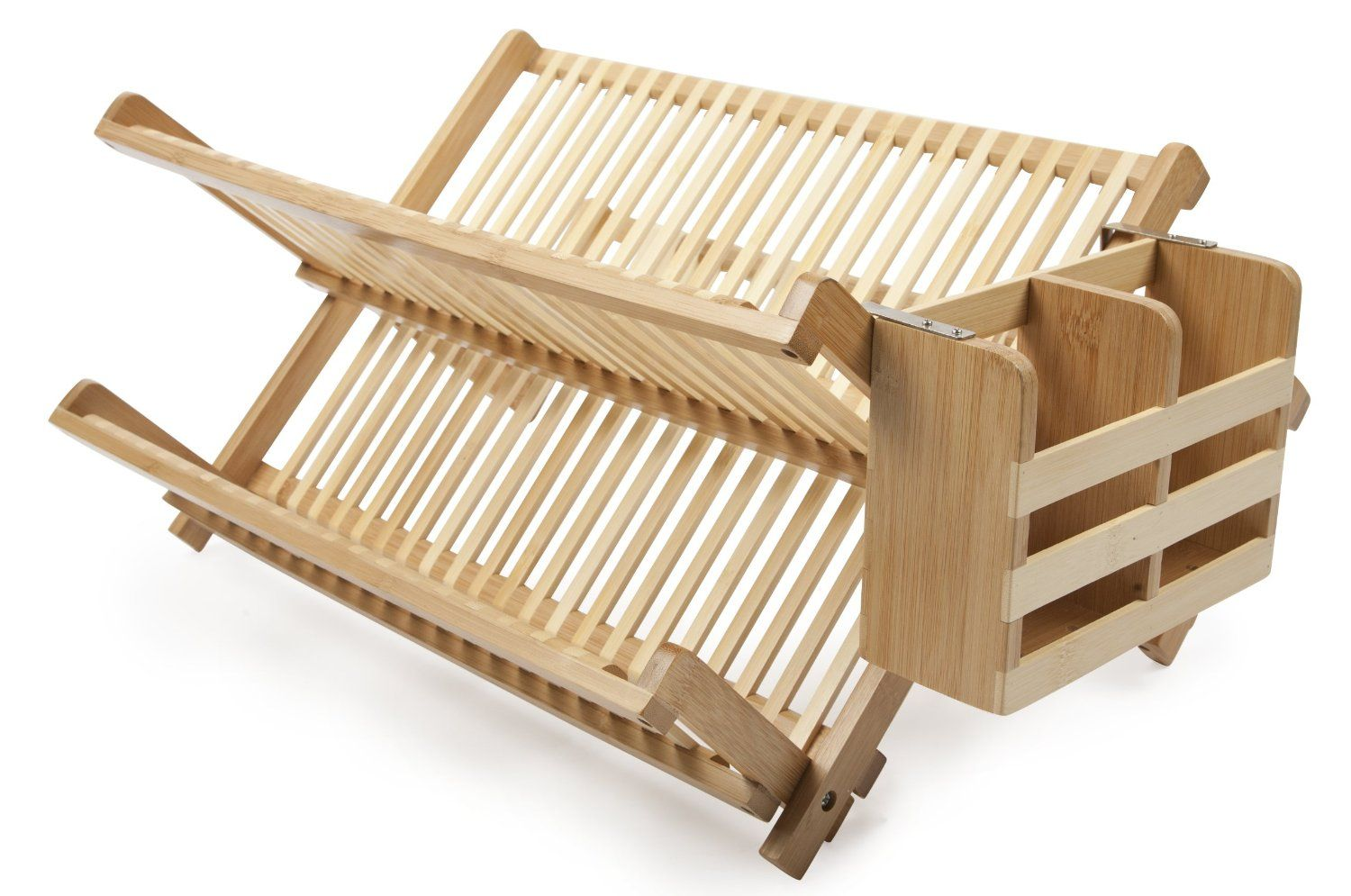 Amazon Com Core Bamboo Dish Rack With Utensil Holder Natural Utensil Organizers Kitchen Dining Bamboo Dishes
