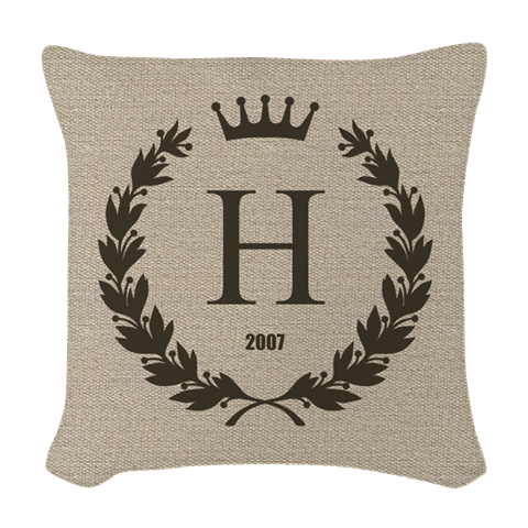 Custom Initial Logo Monogrammed Woven Throw Pillow by giftcy