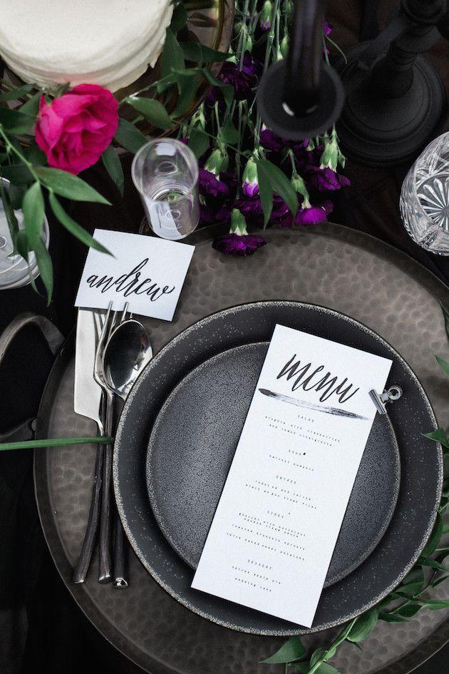 Beautiful black and grey table setting | Loren Weddings | Planning for Paradise | Bridal Musings Wedding Blog