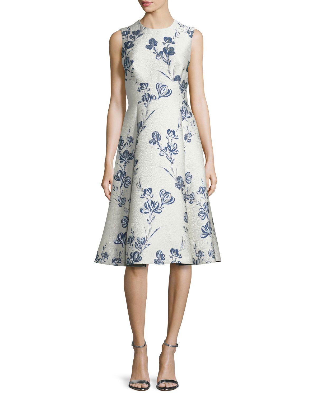 Buy Cheap Big Sale Cheap Sale Discounts Lela Rose Woman Flared Floral-jacquard Dress Cobalt Blue Size 2 Lela Rose Sale Best Wholesale Outlet With Mastercard Good Selling Sale Online jwcQkJ