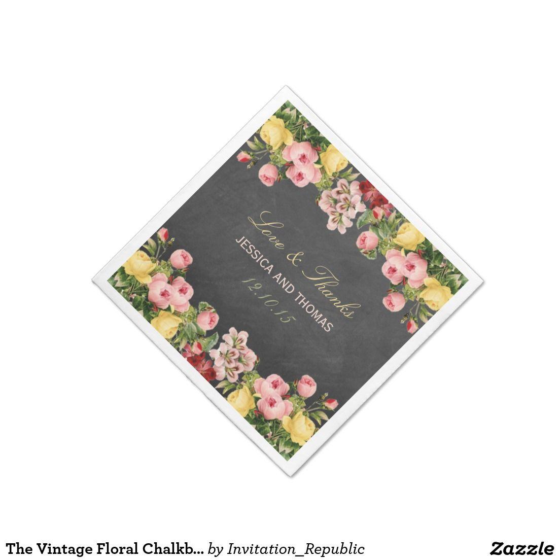 The Vintage Floral Chalkboard Wedding Collection Standard Cocktail Napkin