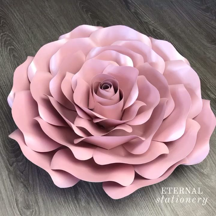 Easy Large Paper Rose Tutorial   How to make paper roses with template - YouTube