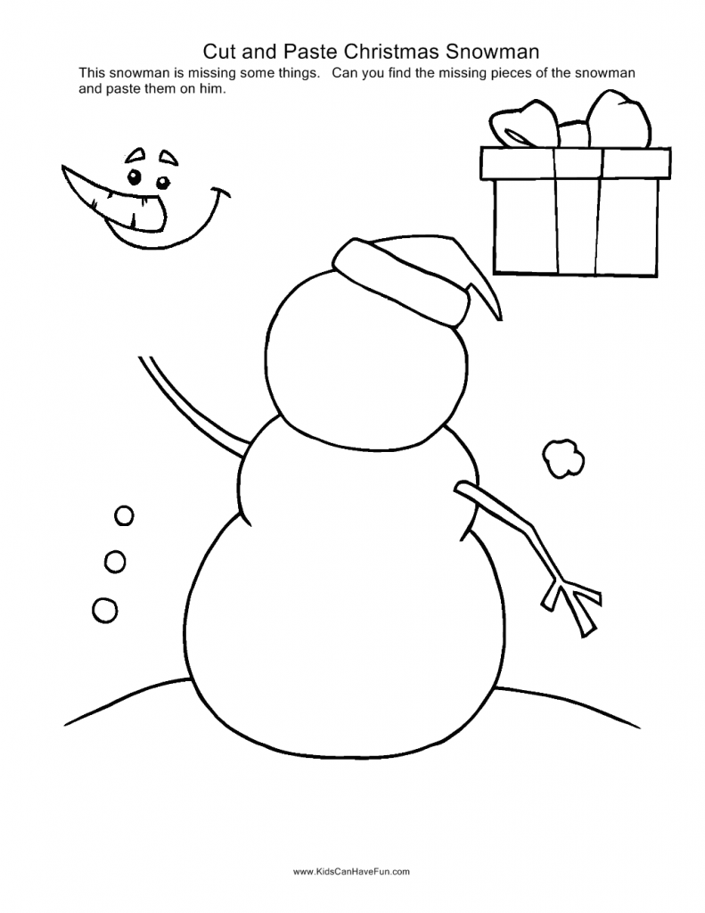 Christmas Cut and Paste Snowman | Material educativo | Pinterest ...