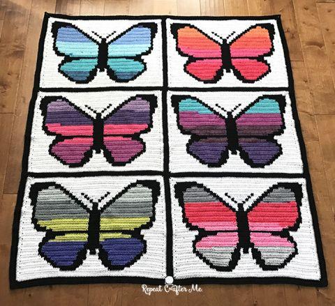 Butterfly Blanket graphghan free crochet pattern
