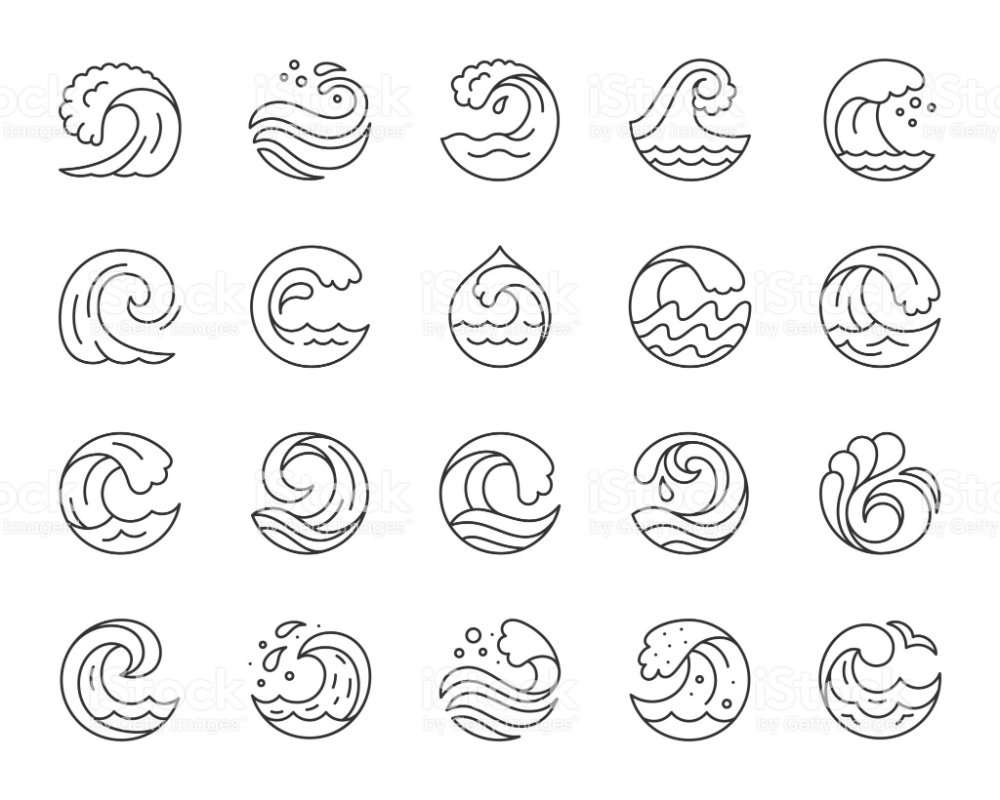Wave simple black line icons vector set Royaltyfree