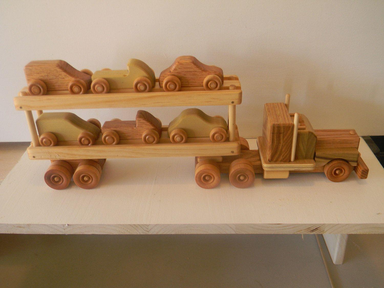 Wooden Toy Truck Handmade 18 Wheeler Car Carrier Truck 40 00 Via