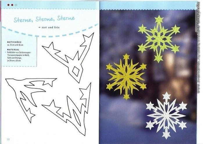 Fancy snowflakes on a box of paper