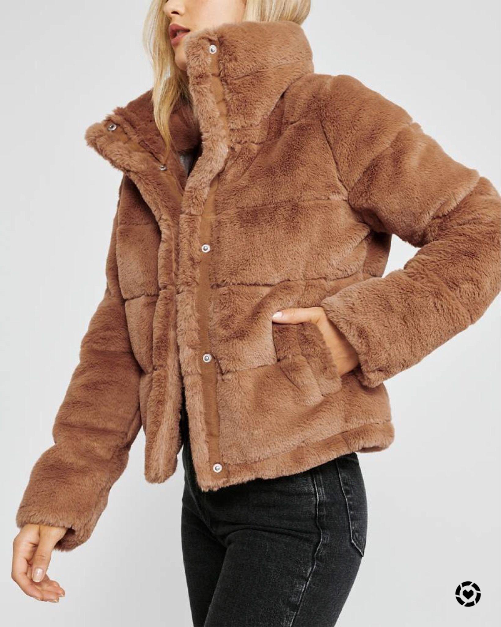 Faux Fur Mini Puffer Faux Fur Puffer Jacket Autumn Jacket Women Leather Puffer Jacket [ 2048 x 1639 Pixel ]