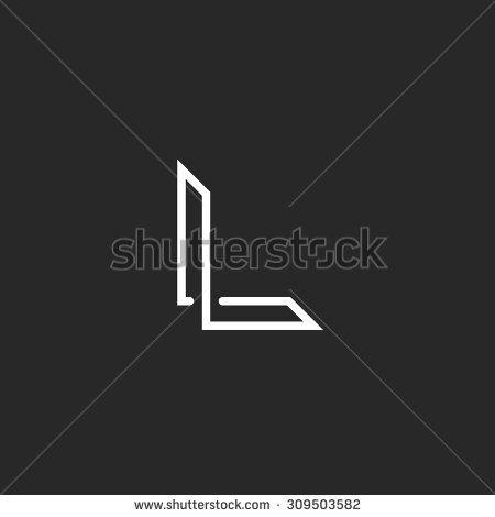 Monogram L Logo Letter Overlapping Thin Line Mockup Elegant Symbol