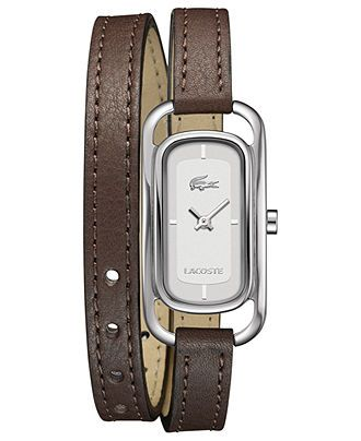 Lacoste Watch, Women's Sienna Brown Leather Double Wrap Strap