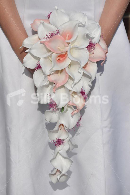 Brilliant White Pink Tipped Calla Lilies Cascade Bridal Wedding Bouquet Silk Flowers