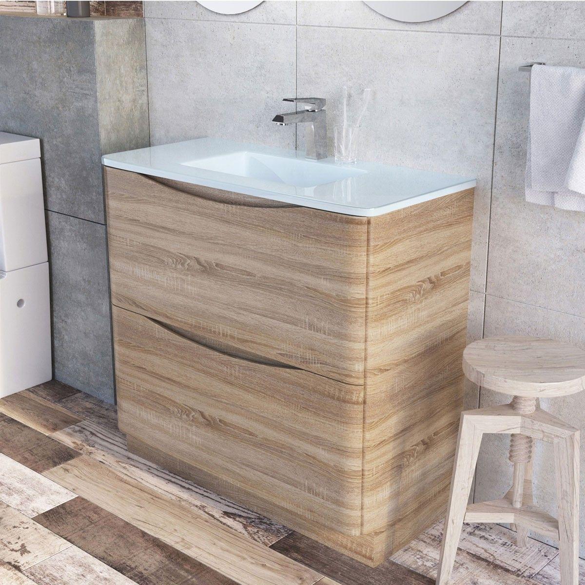 Erin Floor Standing 900 Vanity Unit Light Oak White Glass Basin